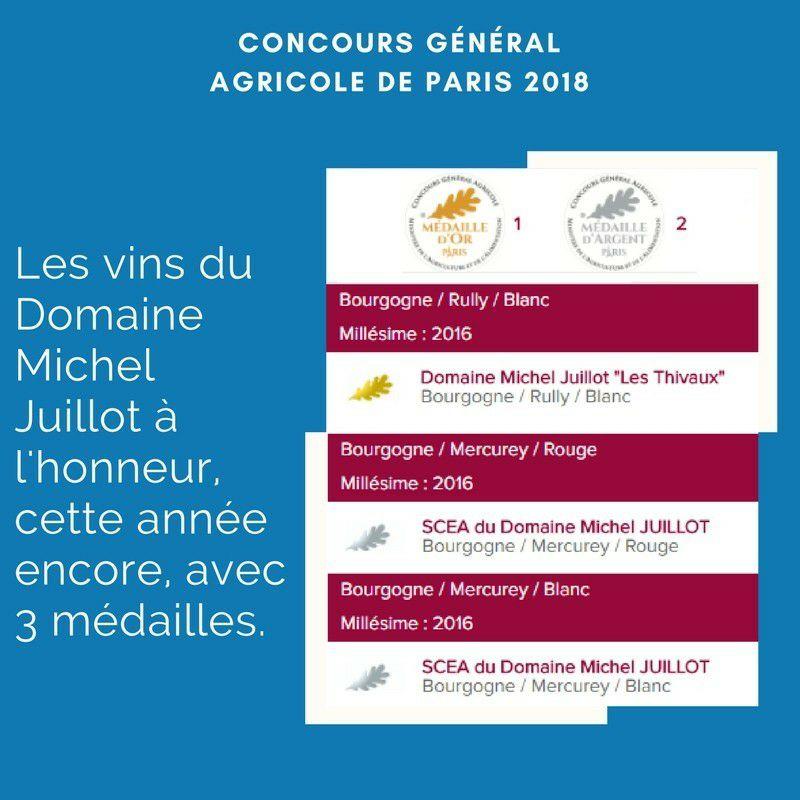Médailles obtenues au Concours agricole de Paris 2018 par le Domaine Michel Juillot
