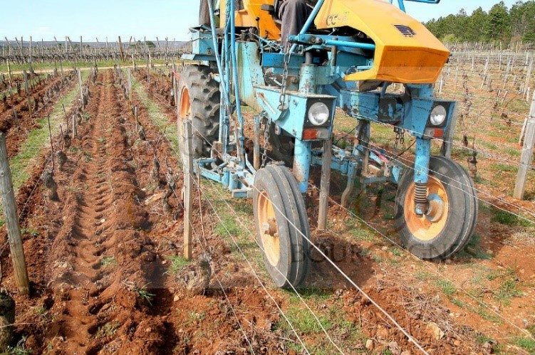 Enjambeur en train de travaille des vignes à Mercurey en Bourgogne